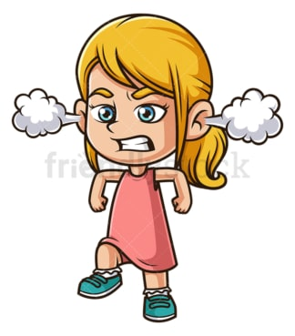 Furious little girl. PNG - JPG and vector EPS (infinitely scalable).