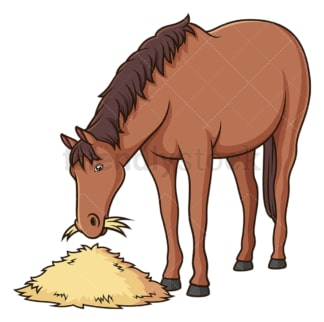 Horse eating hay. PNG - JPG and vector EPS (infinitely scalable).