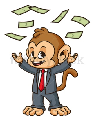 Monkey businessman money rain. PNG - JPG and vector EPS (infinitely scalable).