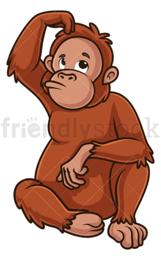 Orangutan scratching head. PNG - JPG and vector EPS (infinitely scalable).