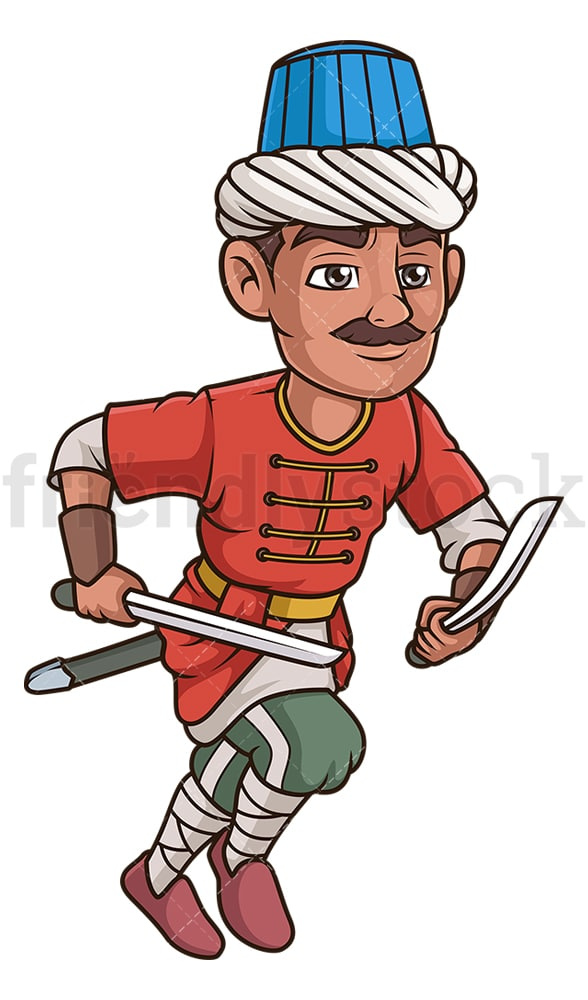 Ottoman turk swordsman. PNG - JPG and vector EPS (infinitely scalable).