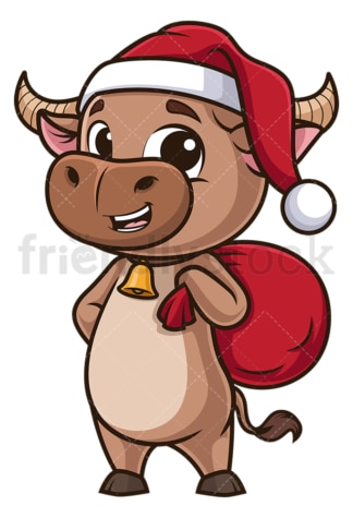 Ox dressed like santa. PNG - JPG and vector EPS (infinitely scalable).