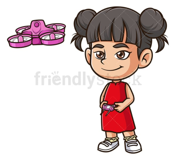 Asian girl flying drone. PNG - JPG and vector EPS (infinitely scalable).