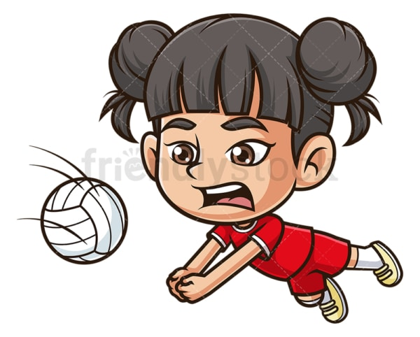 Asian girl playing volleyball. PNG - JPG and vector EPS (infinitely scalable).