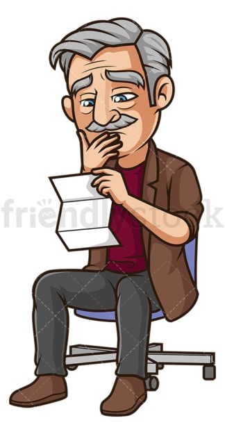 Downhearted old man reading letter. PNG - JPG and vector EPS (infinitely scalable).