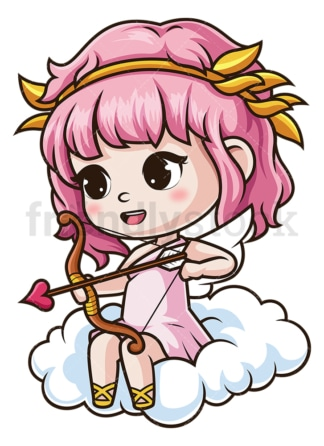 Female cupid on cloud. PNG - JPG and vector EPS (infinitely scalable).