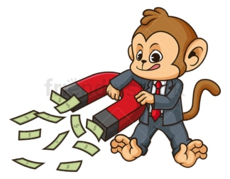 Monkey businessman cash magnet. PNG - JPG and vector EPS (infinitely scalable).