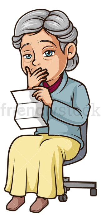 Sad old woman reading letter. PNG - JPG and vector EPS (infinitely scalable).