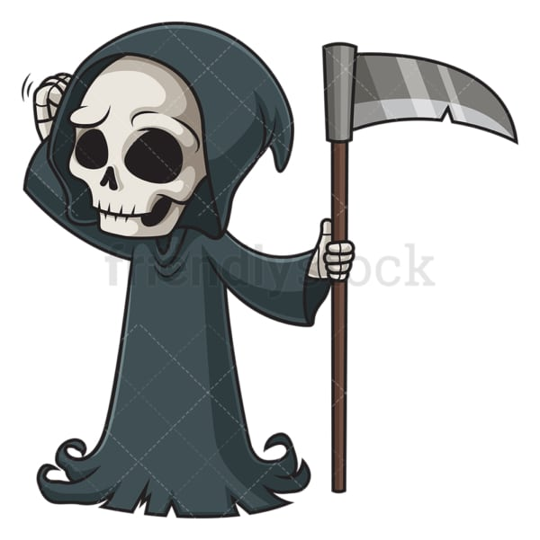 Confused grim reaper. PNG - JPG and vector EPS (infinitely scalable).