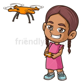 Hispanic girl flying drone. PNG - JPG and vector EPS (infinitely scalable).