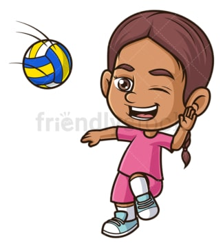 Hispanic girl playing volleyball. PNG - JPG and vector EPS (infinitely scalable).
