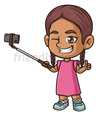 Hispanic girl taking selfie. PNG - JPG and vector EPS (infinitely scalable).