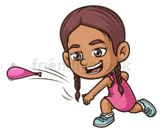 Hispanic girl throwing water bomb. PNG - JPG and vector EPS (infinitely scalable).
