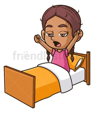 Hispanic girl yawning in bed. PNG - JPG and vector EPS (infinitely scalable).