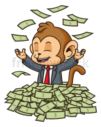 Monkey businessman in money pile. PNG - JPG and vector EPS (infinitely scalable).