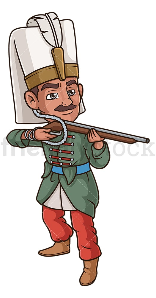 Ottoman soldier with musket. PNG - JPG and vector EPS (infinitely scalable).