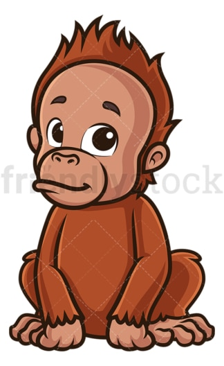 Baby orangutan. PNG - JPG and vector EPS (infinitely scalable).