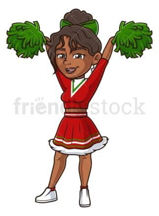 Christmas black female cheerleader. PNG - JPG and vector EPS (infinitely scalable).