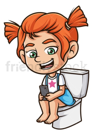 Ginger girl texting while on toilet. PNG - JPG and vector EPS (infinitely scalable).