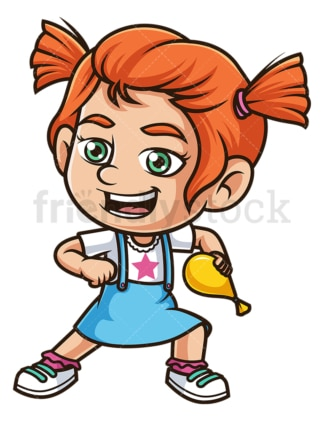 Ginger girl throwing water balloon. PNG - JPG and vector EPS (infinitely scalable).