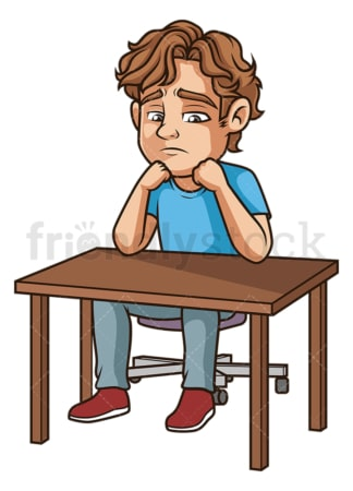 Gloomy man sitting on desk. PNG - JPG and vector EPS (infinitely scalable).