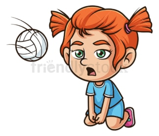 Little girl playing volleyball. PNG - JPG and vector EPS (infinitely scalable).