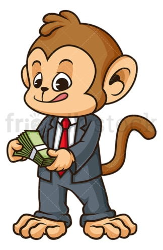 Monkey businessman counting cash. PNG - JPG and vector EPS (infinitely scalable).