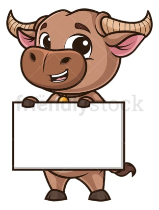 Ox holding blank sign. PNG - JPG and vector EPS (infinitely scalable).