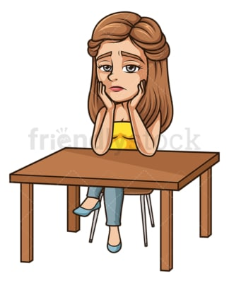 Sad woman sitting on desk. PNG - JPG and vector EPS (infinitely scalable).