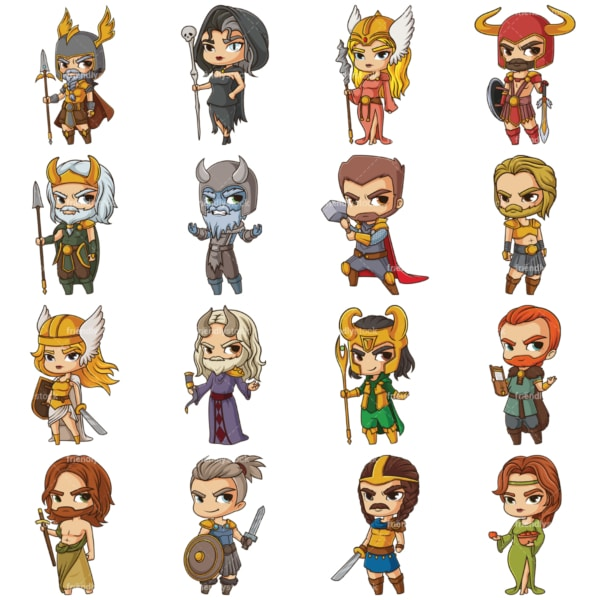 Chibi norse gods and goddesses. PNG - JPG and vector EPS file formats (infinitely scalable). Images isolated on transparent background.