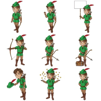 Robin hood. PNG - JPG and infinitely scalable vector EPS - on white or transparent background.