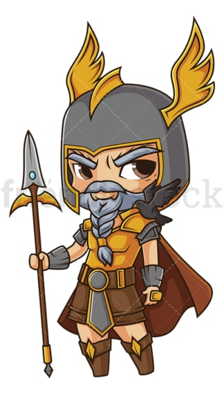 Chibi god odin. PNG - JPG and vector EPS file formats (infinitely scalable). Image isolated on transparent background.