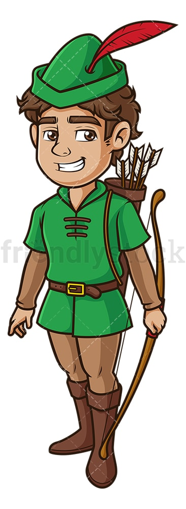 Confident robin hood. PNG - JPG and vector EPS (infinitely scalable).