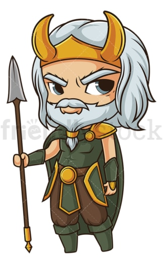 Chibi god njord. PNG - JPG and vector EPS file formats (infinitely scalable). Image isolated on transparent background.