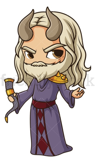 Chibi god mimir. PNG - JPG and vector EPS file formats (infinitely scalable). Image isolated on transparent background.