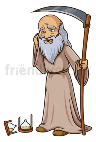 Father time broken hourglass. PNG - JPG and vector EPS (infinitely scalable).