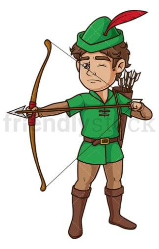 Robin hood aiming with bow. PNG - JPG and vector EPS (infinitely scalable).