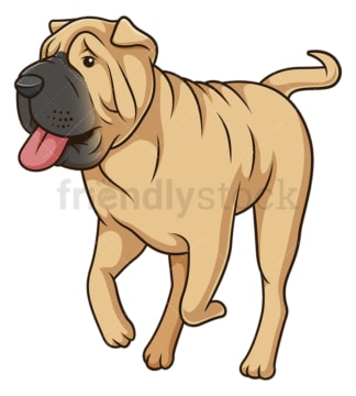 Shar pei dog running. PNG - JPG and vector EPS (infinitely scalable).