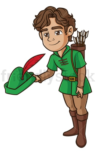 Robin hood bowing down. PNG - JPG and vector EPS (infinitely scalable).