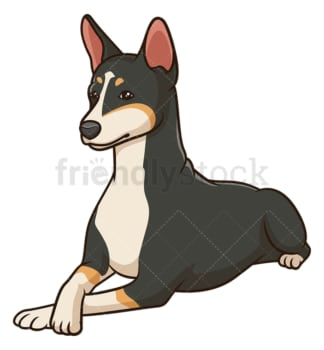 Basenji dog lying down. PNG - JPG and vector EPS (infinitely scalable).
