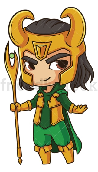 Chibi god loki. PNG - JPG and vector EPS file formats (infinitely scalable). Image isolated on transparent background.