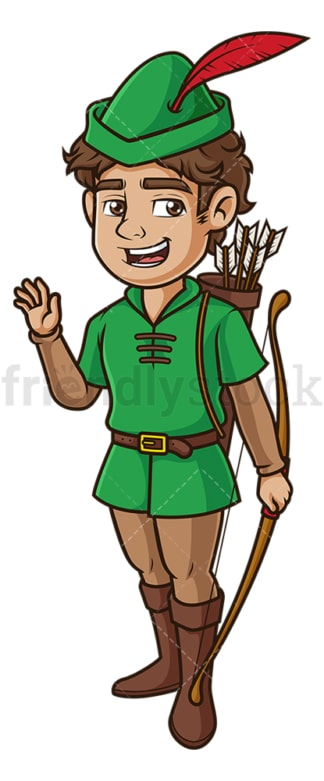 Happy robin hood waving. PNG - JPG and vector EPS (infinitely scalable).
