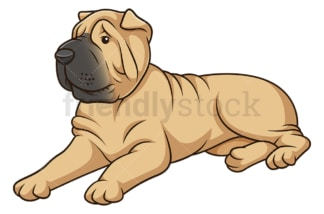 Shar pei dog lying down. PNG - JPG and vector EPS (infinitely scalable).