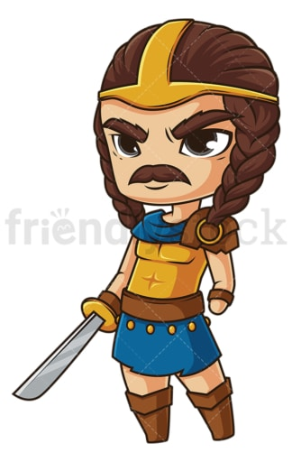 Chibi god tyr. PNG - JPG and vector EPS file formats (infinitely scalable). Image isolated on transparent background.
