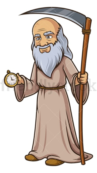 Father time checking clock. PNG - JPG and vector EPS (infinitely scalable).