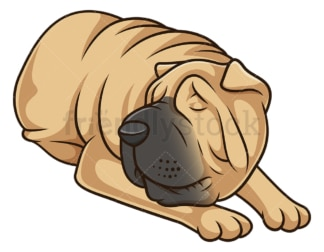 Sleeping shar pei dog. PNG - JPG and vector EPS (infinitely scalable).
