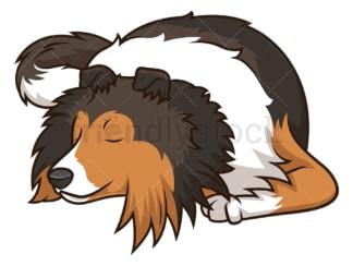 Sleeping shetland sheepdog dog. PNG - JPG and vector EPS (infinitely scalable).