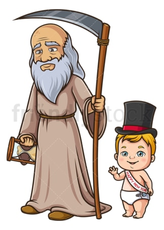 Father time baby new year. PNG - JPG and vector EPS (infinitely scalable).