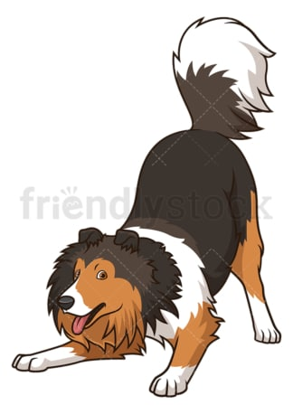 Playful sheltie dog. PNG - JPG and vector EPS (infinitely scalable).