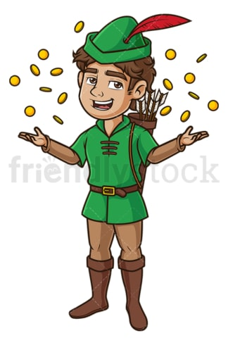 Robin hood with gold coins. PNG - JPG and vector EPS (infinitely scalable).